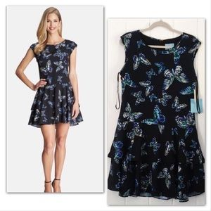 CeCe Butterfly Kiss Dress with Tiered Skirt